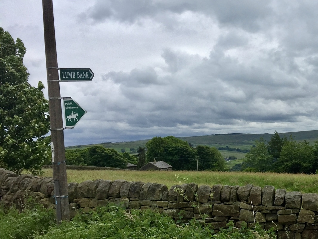 Sign pointing to Lumb Bank in Yorkshire